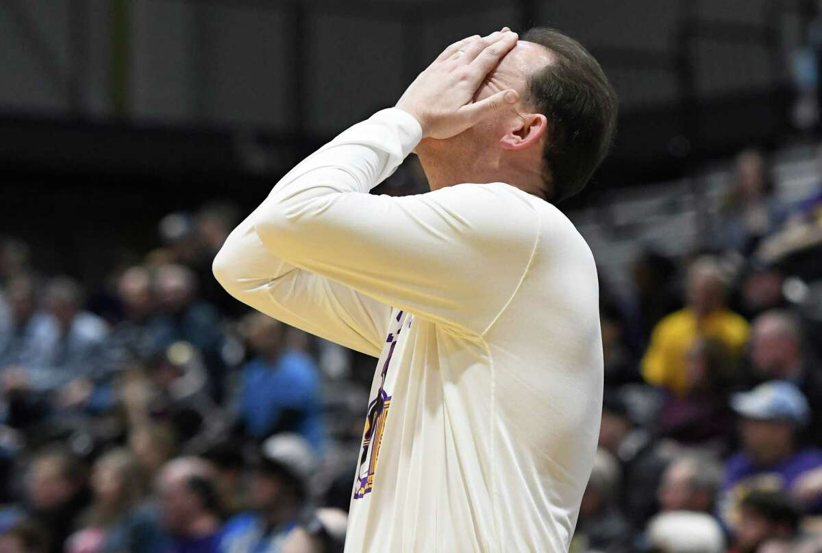 UAlbany men's basketball head coach Will Brown reacts to call against his team during a game against UMBC on Saturday, Feb. 23, 2019 at SEFCU Arena in Albany, N.Y. (Jenn March, Special to the Times Union)