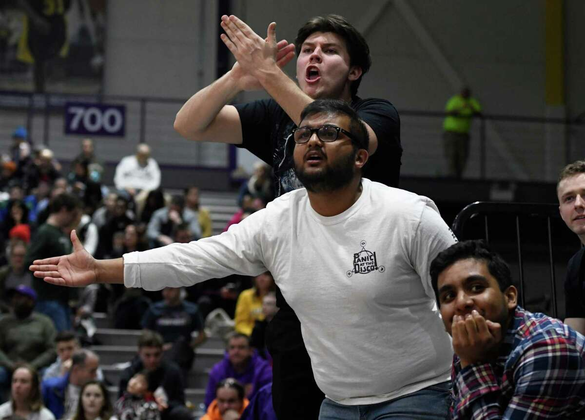 UAlbany fans jeer at the referees for a foul called against their basketball team during a game against UMBC on Saturday, Feb. 23, 2019 at SEFCU Arena in Albany, N.Y. (Jenn March, Special to the Times Union)