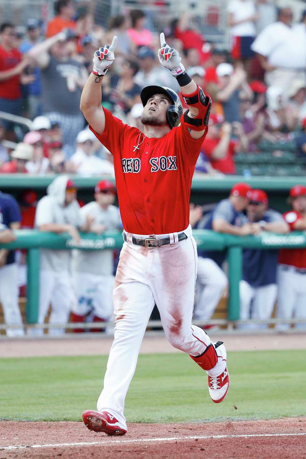 FORT MYERS, FL - FEBRUARY 23: Michael Chavis #65 of the Boston Red Sox reacts after hitting a three-run home run in the third inning of a Grapefruit League spring training game against the New York Yankees at JetBlue Park at Fenway South on February 23, 2019 in Fort Myers, Florida. (Photo by Joe Robbins/Getty Images)
