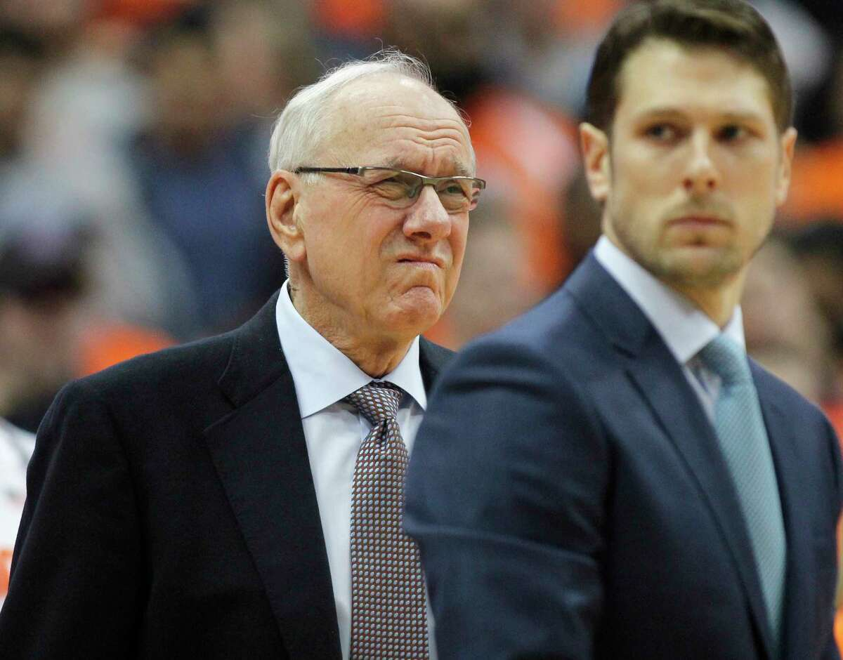 Syracuse coach Jim Boeheim waits for the team's NCAA college basketball game against Duke in Syracuse, N.Y., Saturday, Feb. 23, 2019. Three days after he accidentally hit and killed a pedestrian, Boeheim returned to the bench to loud applause prior to the Orange?s game against top-ranked Duke. (AP Photo/Nick Lisi)
