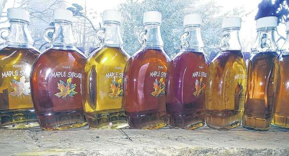 A collection of maple syrup made this year by Pat and Barb Ward. Photo: Samantha McDaniel-Ogletree | Journal-Courier