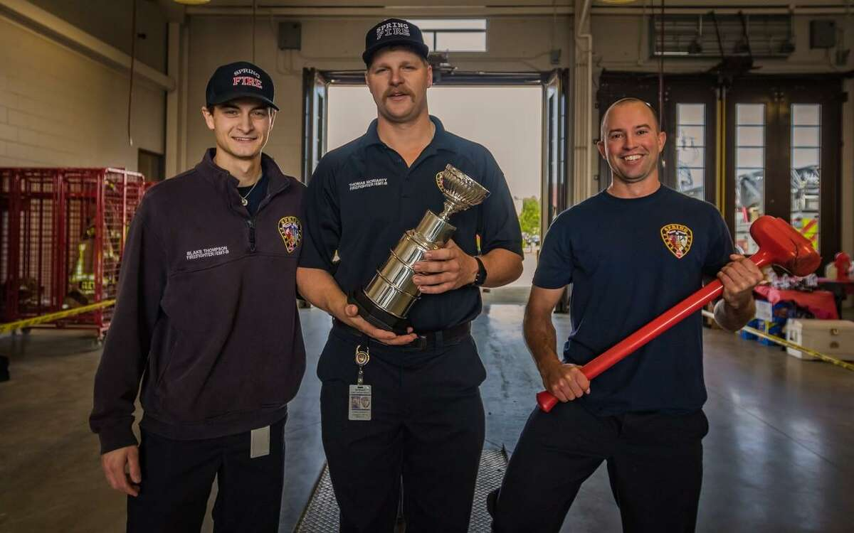 The Spring Fire Department team from Engine 72 are the winners of the inaugural Spring Firefighter Challenge held at Station 78 on Feb. 23. From left to right: Firefighters Blake Thompson, Thomas Moriarty and Daniel Atkinson.