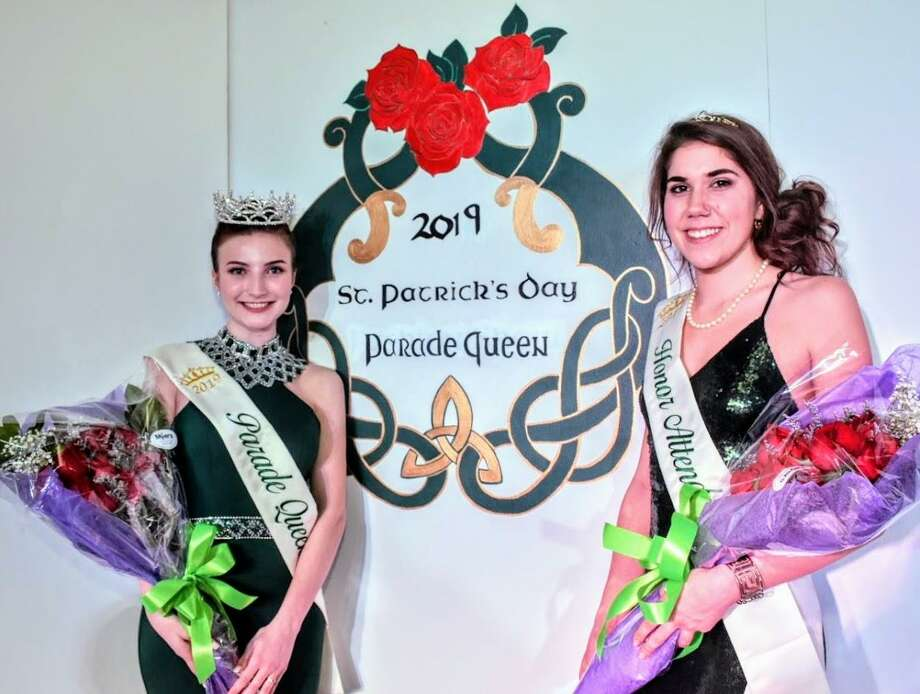 The 2019 Greater New Haven St. Patrick's Day Parade Queen Taylor Besciglia, and her honor attendant, Claire Bohan. Photo: Contributed