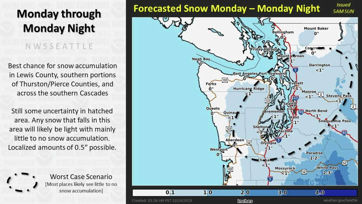 Next system Monday through Monday night will mainly stay south of the area, according to the National Weather Service.