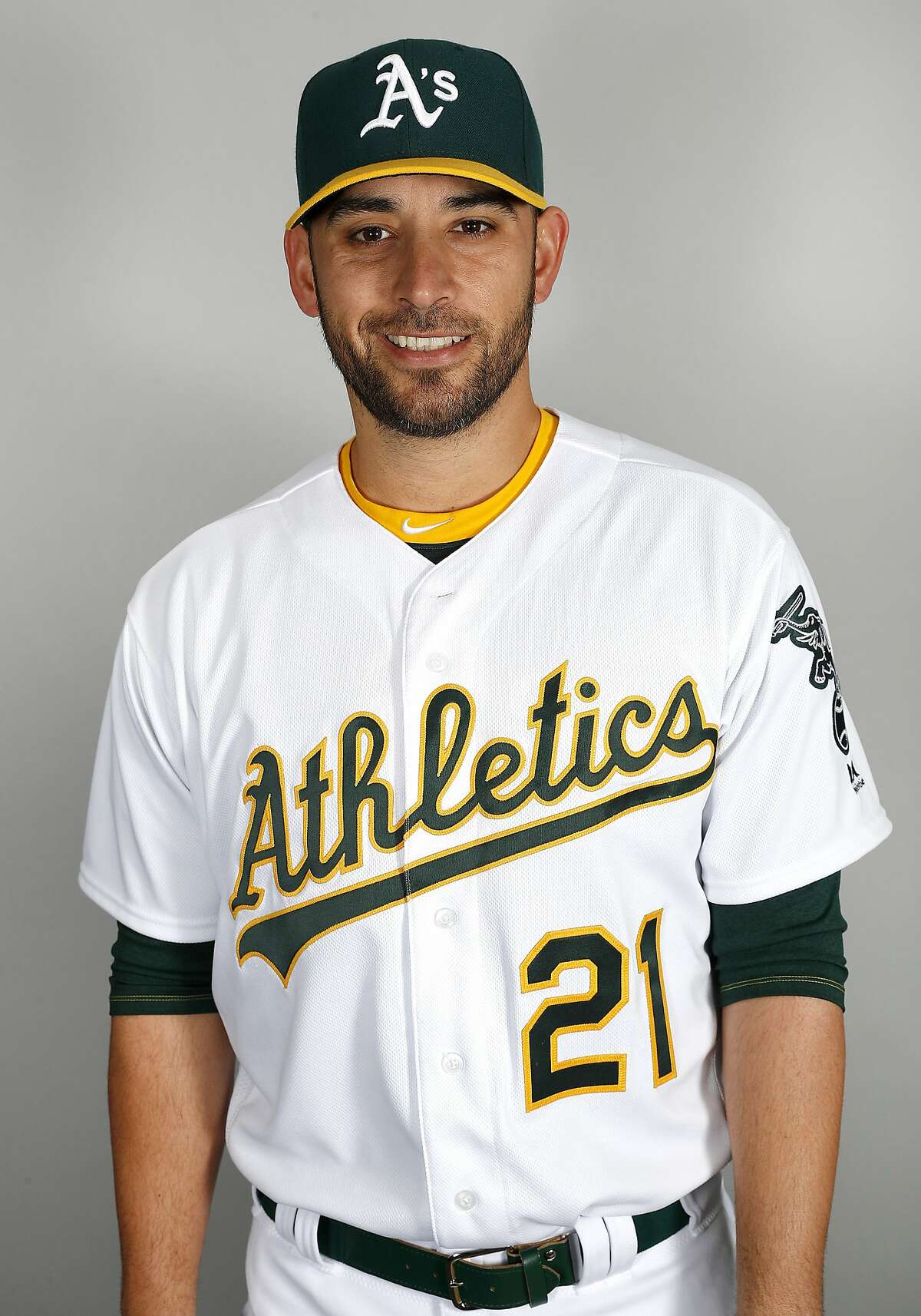 This is a 2019 photo of Marco Estrada of the Oakland Athletics baseball team. This image reflects the 2019 active roster as of Tuesday, Feb. 19, 2019, when this image was taken. (AP Photo//Matt York)