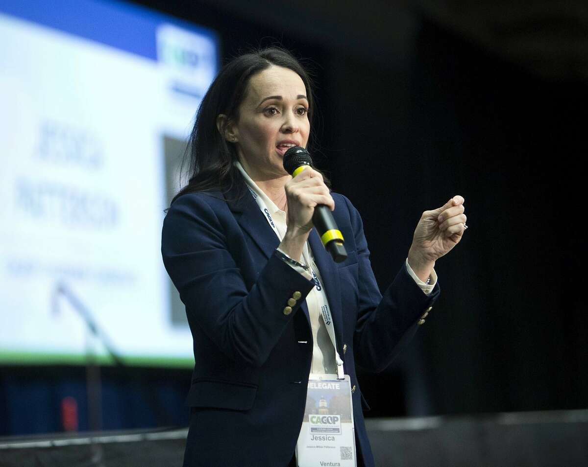 Jessica Patterson, candidate for chair of the California Republican Party, speaks to delegates after her nomination during the party convention in Sacramento, Calif., Saturday, Feb. 23, 2019. (AP Photo/Steve Yeater)