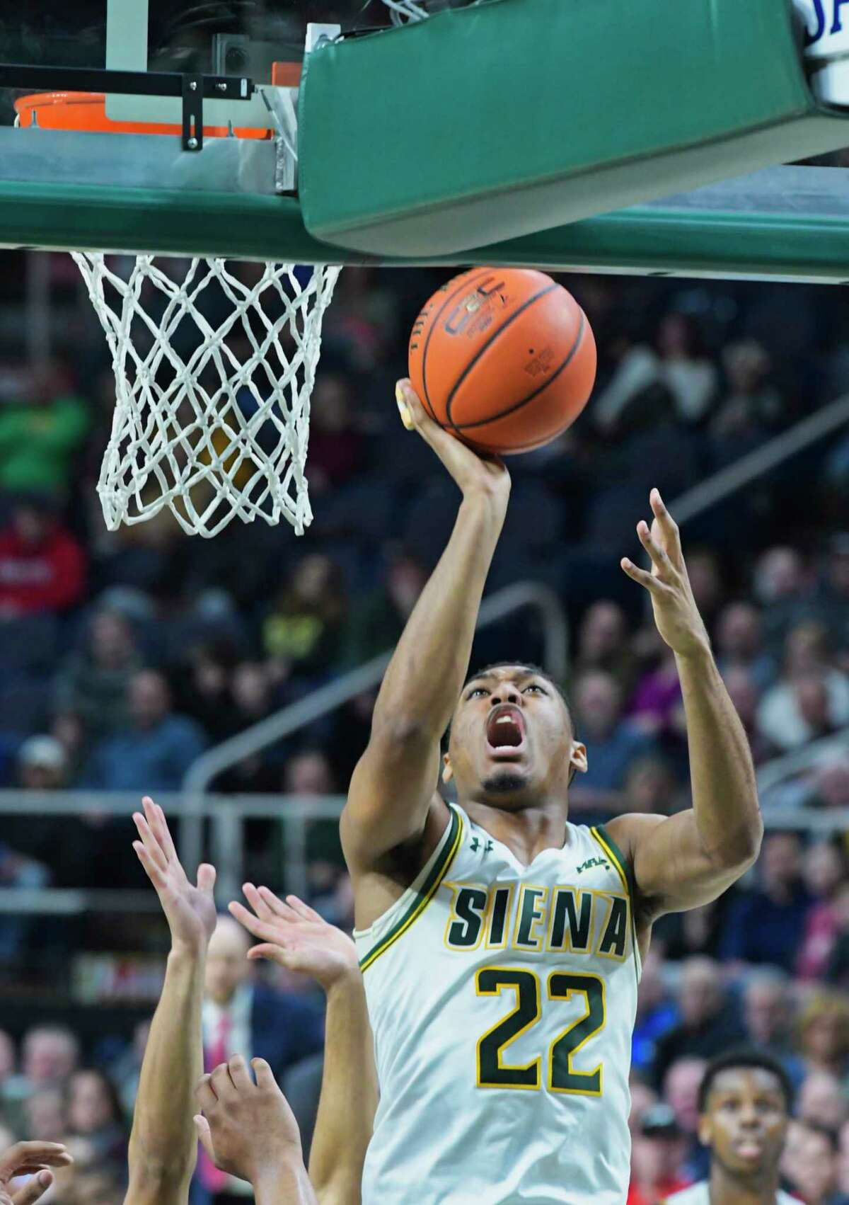 Jalen Pickett of Siena drives to the basket during their game against Marist on Sunday, Feb. 24, 2019, in Albany, N.Y. (Paul Buckowski/Times Union)