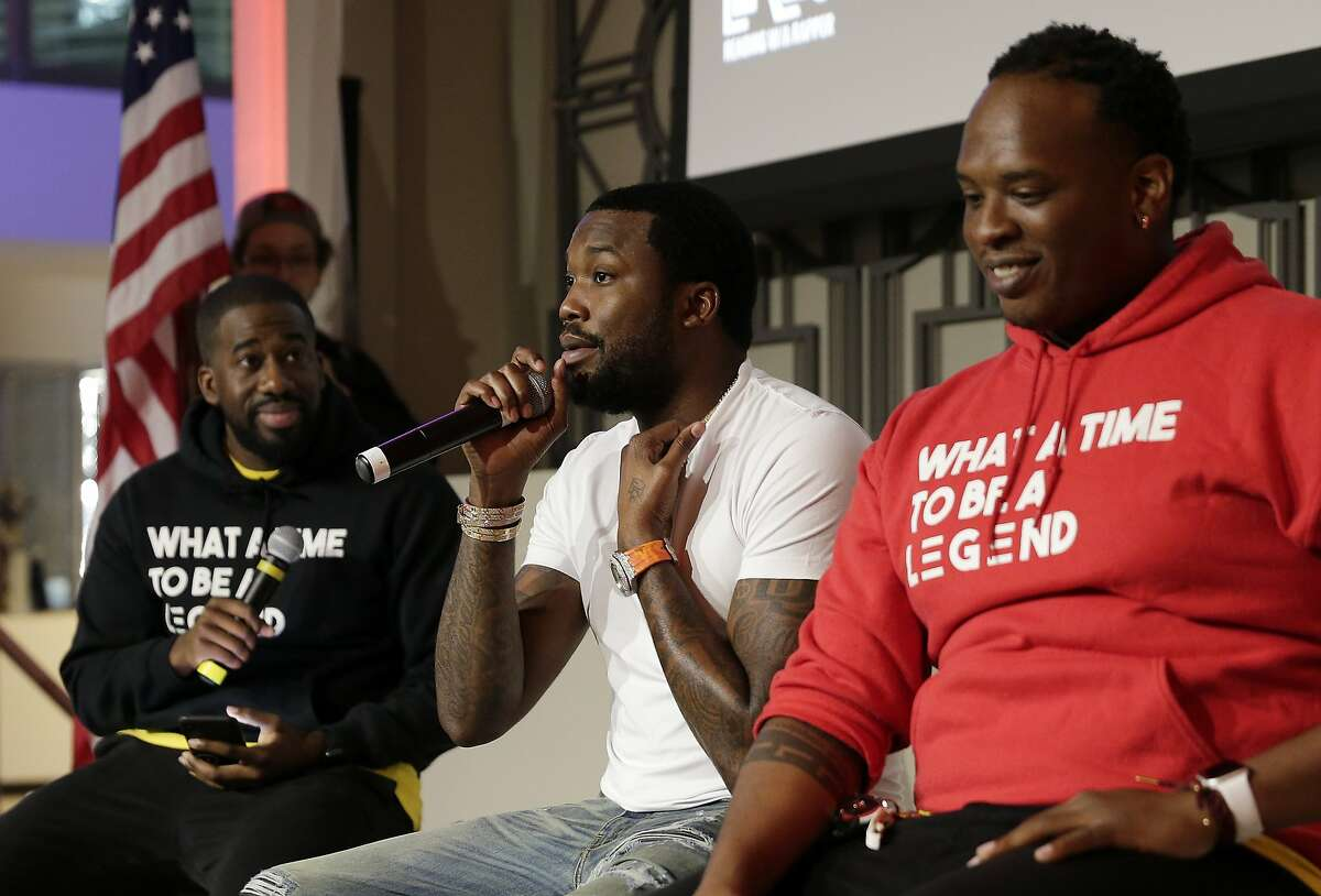 (from left) Moderator Jarren Small, rapper Meek Mill and Douglas Johnson on a panel during a joint program between Reading With A Rapper (RWAR) and My Brother's Keeper Houston (MBK) in the Legacy Room at City Hall Sunday, Feb. 24, 2019 in Houston, TX.