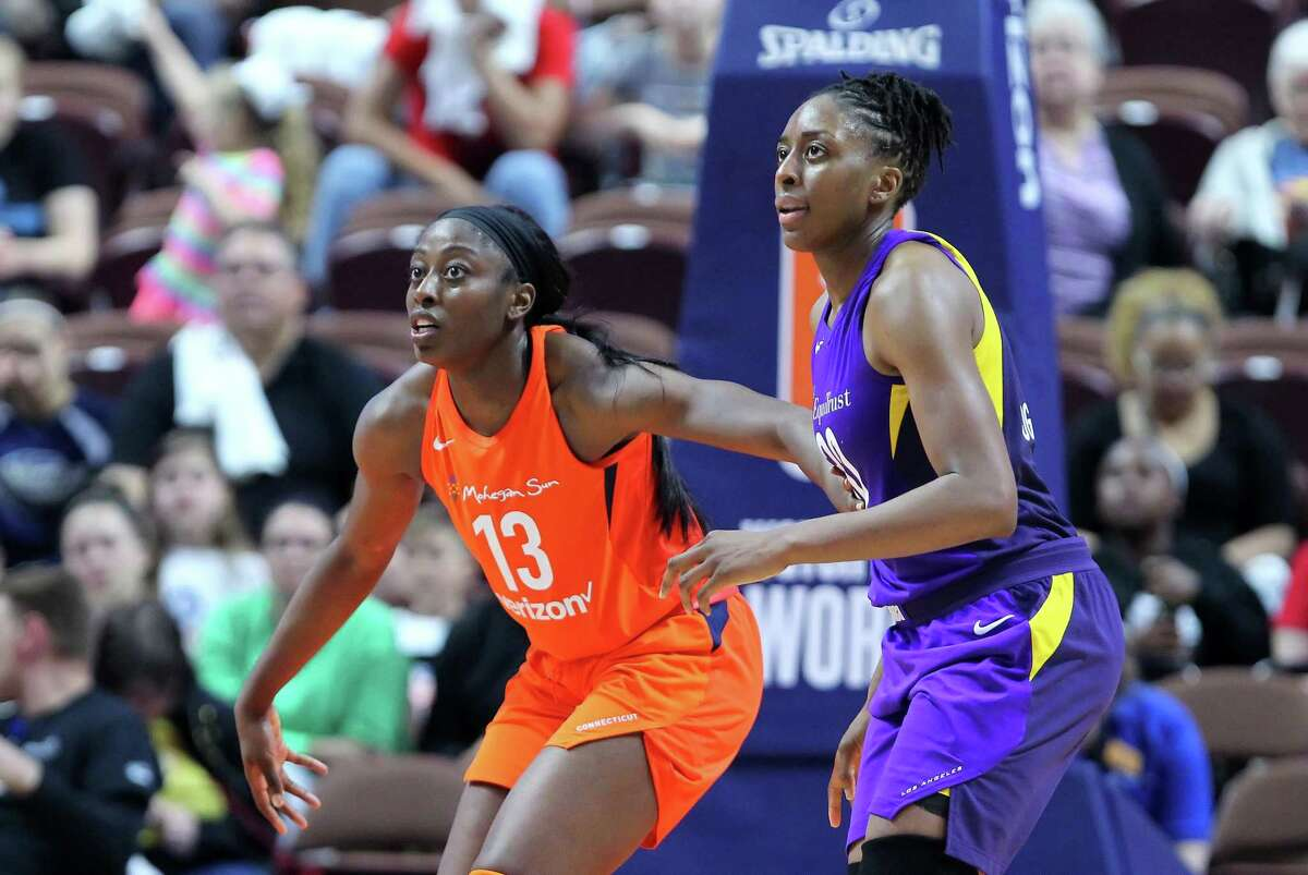Connecticut Sun's Chiney Ogwumike, left, and her sister Nneka of the Los Angeles Sparks have crossed paths many times in the WNBA. Meanwhile, younger siblings Olivia and Erica have teamed up at Rice.