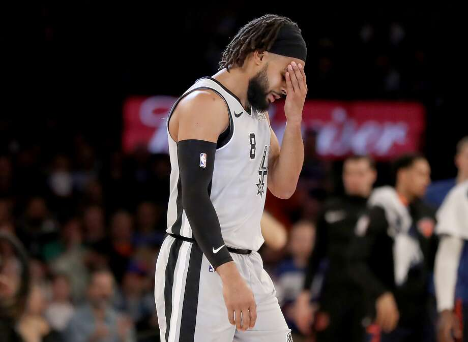 NEW YORK, NEW YORK - FEBRUARY 24:  Patty Mills #8 of the San Antonio Spurs reacts in the fourth quarter against the New York Knicks at Madison Square Garden on February 24, 2019 in New York City.The New York Knicks defeated the San Antonio Spurs 130-118. NOTE TO USER: User expressly acknowledges and agrees that, by downloading and or using this photograph, User is consenting to the terms and conditions of the Getty Images License Agreement. (Photo by Elsa/Getty Images) Photo: Elsa, Getty Images