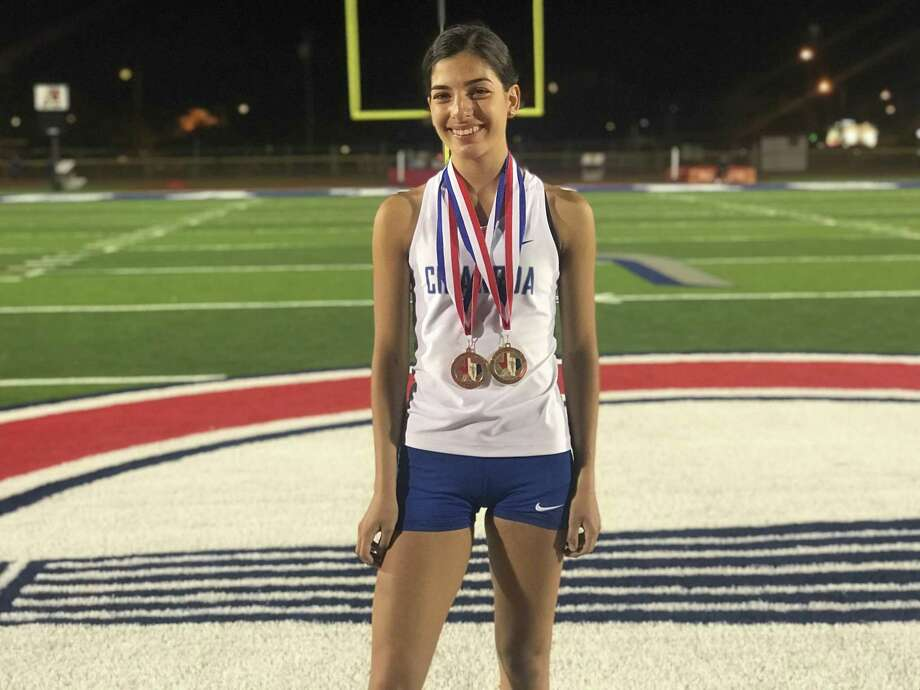 Cigarroa's Edelmy Garcia take gold in the 300-meter hurdles this past weekend at the Medina Valley Panther Relays. Photo: Courtesy Of Cigarroa Athletics