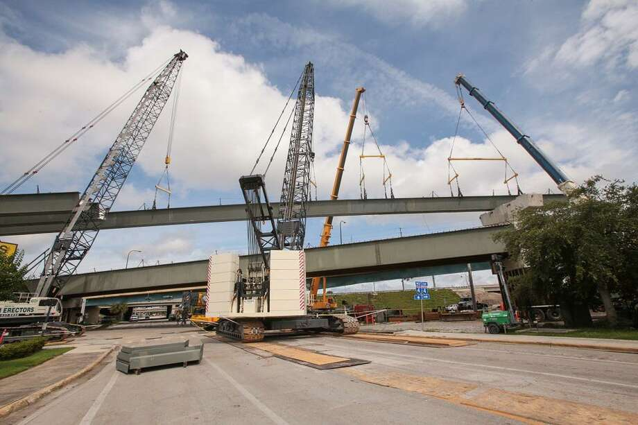 """Terex mobile """"crawler"""" cranes on site in the Orlando, Fla. area. (Photo via Terex Mobile Cranes)"""