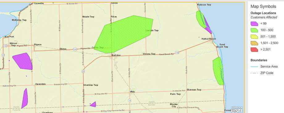 These screenshots show some of the areas DTE reports are without power as of Monday morning. Photo: DTE Energy