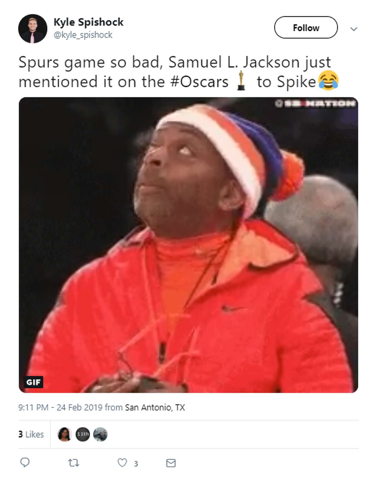 Twitter reacted to Samuel L. Jackson calling out the Spurs' loss to the Knicks at the 2019 Academy Awards.