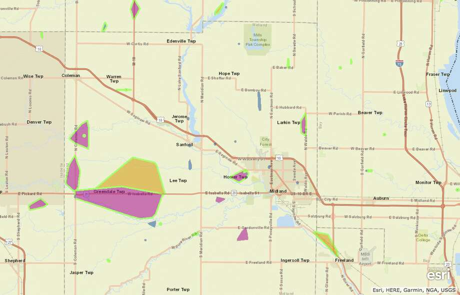 Power outages are heaviest on Midland County's western side on Monday, Feb. 25, 2019. (Screenshot of Consumers Energy Outage Map/Esri, HERE, Garmin, NGA, USGS) Photo: Screenshot Of Consumers Energy Outage Map/Esri, HERE, Garmin, NGA, USGS