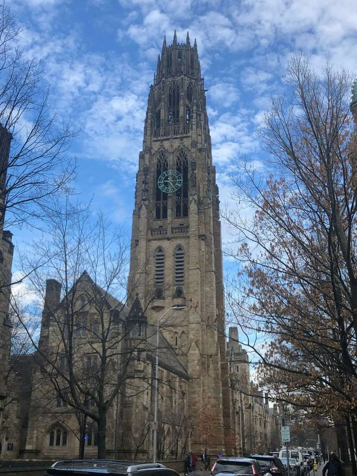 Harkness Tower, home of the Yale Memorial Carillon, at Yale University on High Street in New Haven.