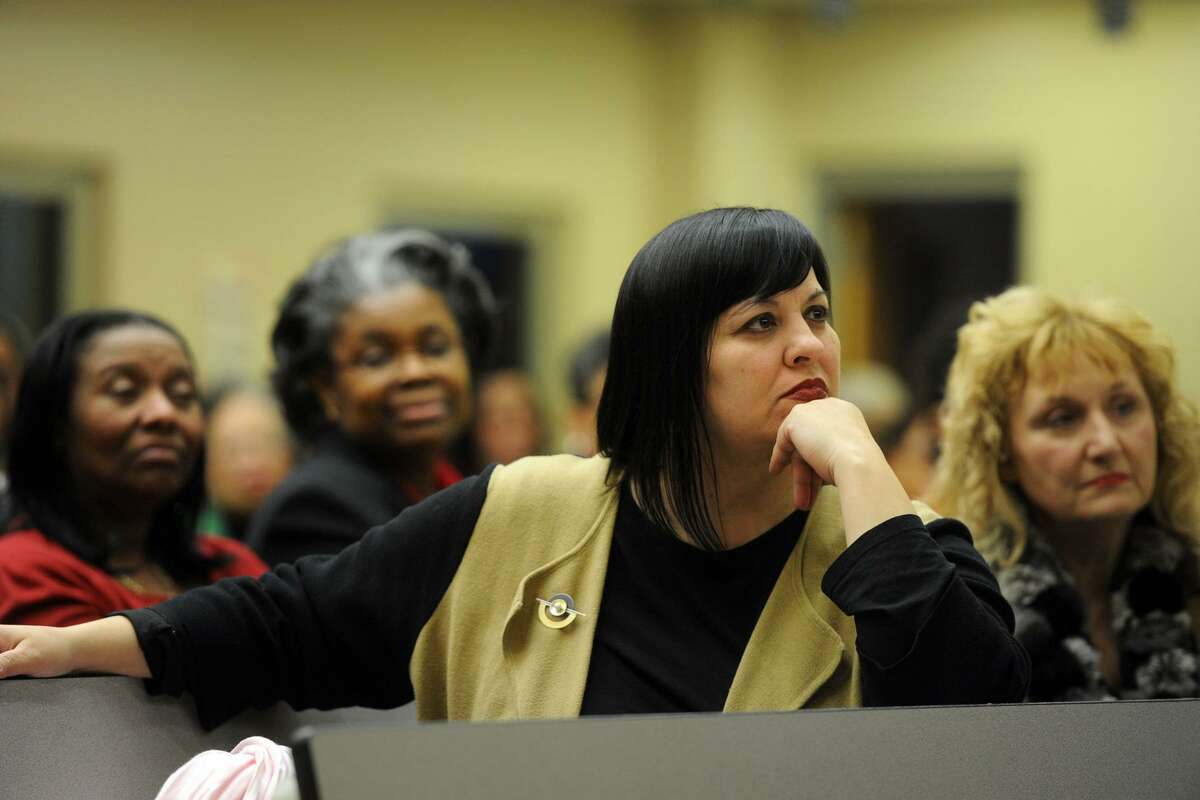 Bridgeport Board of Education member Maria Pereira attends the public forum for the two candidates for the Bridgeport Superintendent of Schools position held at the Johnson School in Bridgeport, Conn. March 23, 2017.
