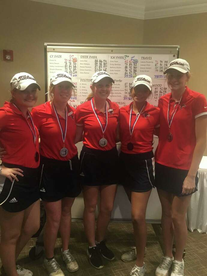 The Clear Lake girls' golf team took second Feb. 22-23 at the Fort Bend Clements Invitational at Sienna Plantation Golf Club in Missouri City. Team members competing for the Falcons included (left to right) Juliana Hickman, Avery Flanagan, Mallary Stroh, Lexie Manriquez and Julia Webb. Clear Lake will next compete in the Regional Preview tournament Friday and Saturday at Eagle Pointe Golf Club in Mont Belvieu. Photo: Submitted Photo