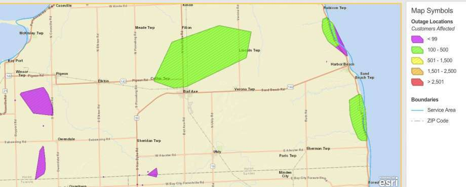 Thumb area outage map. Photo: DTE Energy