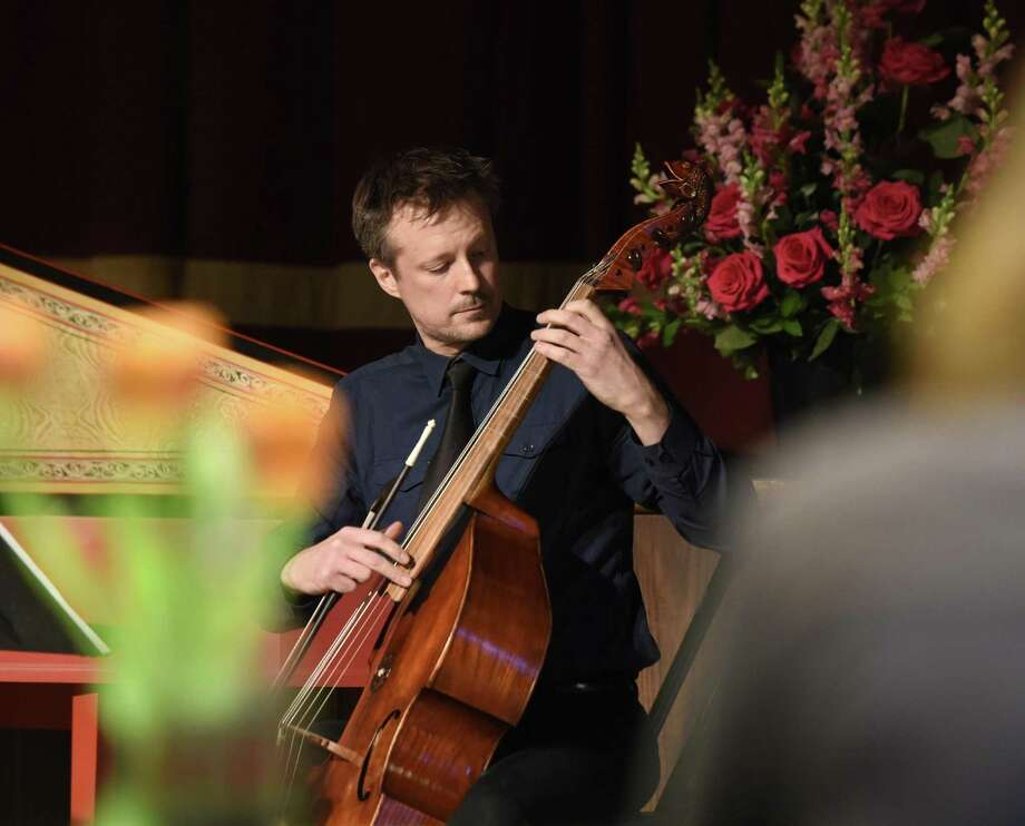 Tod Hedrick plays the viola da gamba as part of the Sunday Afternoons Live concert series at First Congregational Church of Old Greenwich in Old Greenwich, Conn. Sunday, Feb. 24, 2019. Hedrick performed on the viola da gamba, also known as viol, which is an instrument similar to the cello that was most popular in the 16th and 17th centuries. Hedrick and his small ensemble performed mixed repertoire for voice and period instruments from the sounds of the Middle Ages to the time of J.S. Bach. Photo: Tyler Sizemore / Hearst Connecticut Media / Greenwich Time