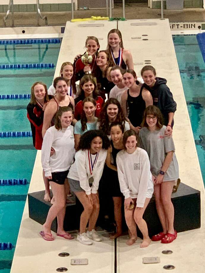 The St. John's swimming and diving team repeated as Southwest Preparatory Conference champions, scoring 158.5 points to win by 62.5 points. The Mavericks broke two conference relay records. Photo: St. John's School / St. John's School