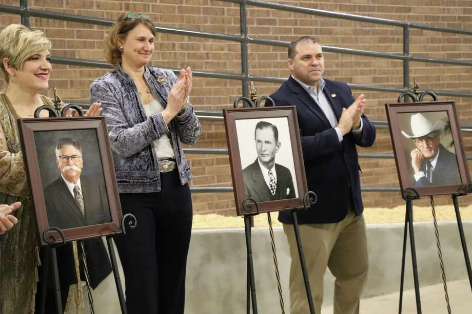 "Katy Independent School District officials on Feb.16 dedicated three new facilities named after Gerald D. Young, L.D.Robinson and William Edward ""Billy"" Morgan. Unveiling portraits of the three men were Courtney Doyle, school board president; Sarah J. Martin, director of career and technical education; and Ken Gregorski, Katy ISD superintendent. Photo: Katy ISD / Katy ISD"