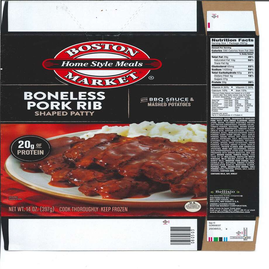 """The United States Department of Agriculture is asking that customers who purchased Bellisio Foods' """"Boston Market Home Style Meals boneless pork rib-shaped patty with bbq sauce & mashed potatoes"""" frozen entrée products to check their refrigerator and dispose of the items. Photo: USDA FSIS"""