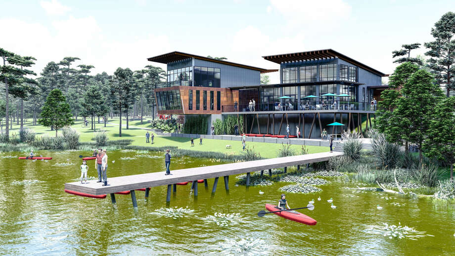 Conroe's Grand Central Park community unveiled designs for its 13-acre Lake House Amenity Complex set to open in 2020.The complex will have a resort-style pool, fitness room, yoga and event lawn, playground, pavilion for events and resident gatherings, and an event room with kitchen. Photo: Johnson Development Corp.
