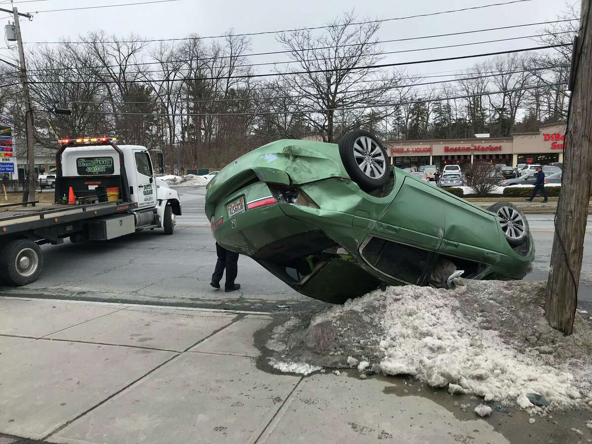 One car flipped and four others were damaged in a crash that happened before 1 p.m. Monday on Western Avenue in Albany.