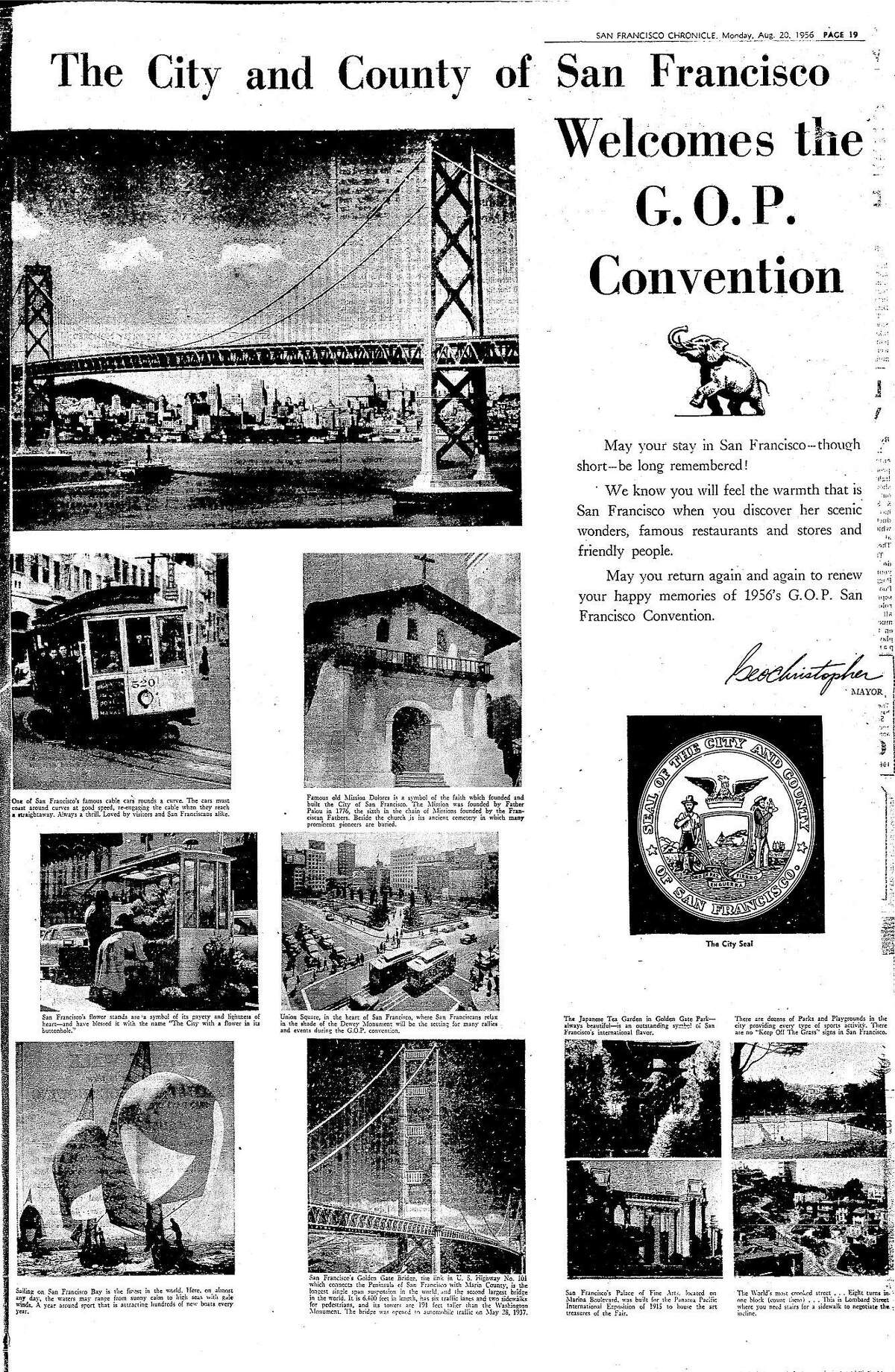 An August 20, 1956 full page ad Welcoming the Republican National Convention list a number of popular tourist sites, including the crooked portion of Lombard Street