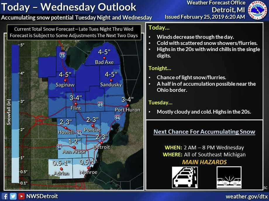 A frontal system will bring a chance for accumulating snow to the region late Tuesday Night and through the day Wednesday. Photo: National Weather Service Detroit