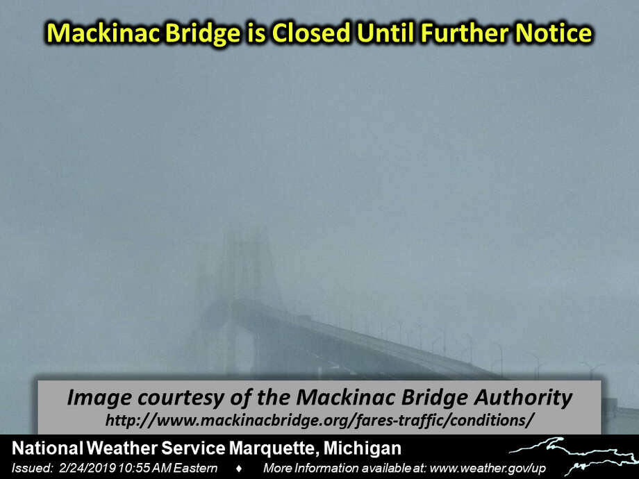 Mackinac Bridge was closed Sunday due to weather conditions and falling ice until further notice. It was reopened at 5:30 a.m. Monday  Photo: National Weather Service Marquette
