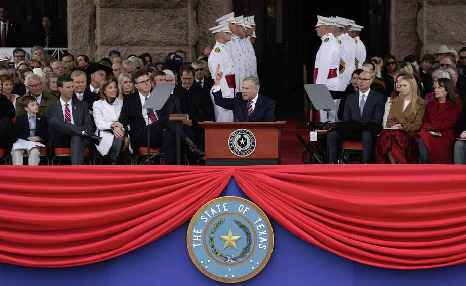 Texas Gov. Greg Abbott speaks during his Jan. 15 inauguration ceremony in Austin. Click ahead to view the donors that gave $50,000 or more for the celebration. Photo: Eric Gay /Associated Press / Copyright 2019 The Associated Press. All rights reserved.