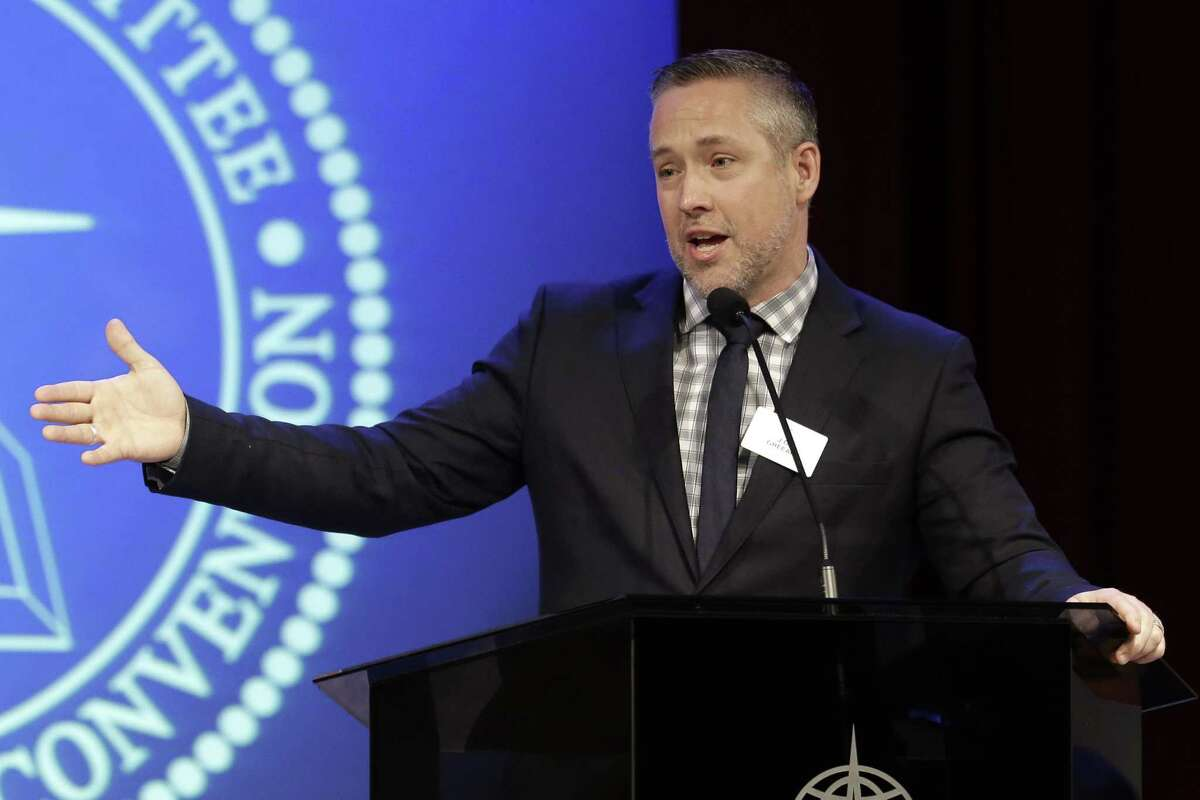 Southern Baptist Convention President J.D. Greear speaks to the denomination's executive committee Monday, Feb. 18, 2019, in Nashville, Tenn. (AP Photo/Mark Humphrey)
