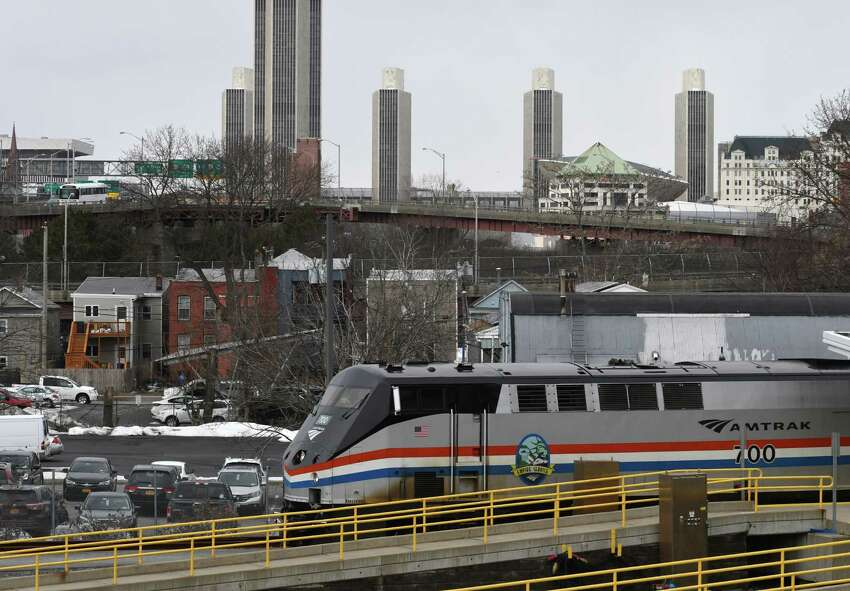 A New York-bound Amtrak train pulls out of the Albany-Rensselaer train station on Monday Feb. 25, 2019, in Rensselaer, N.Y. (Will Waldron/Times Union)