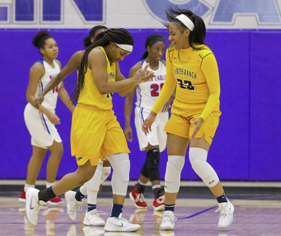 Cypress Ranch forward Shira Patton (10) reacts beside teammate Riane Burton (23) after a timeout is called during the third quarter of a Region II-6A area high school basketball playoff game at Klein Cain High School, Thursday, Feb. 14, 2019, in Houston. Photo: Jason Fochtman, Houston Chronicle / Staff Photographer / © 2019 Houston Chronicle