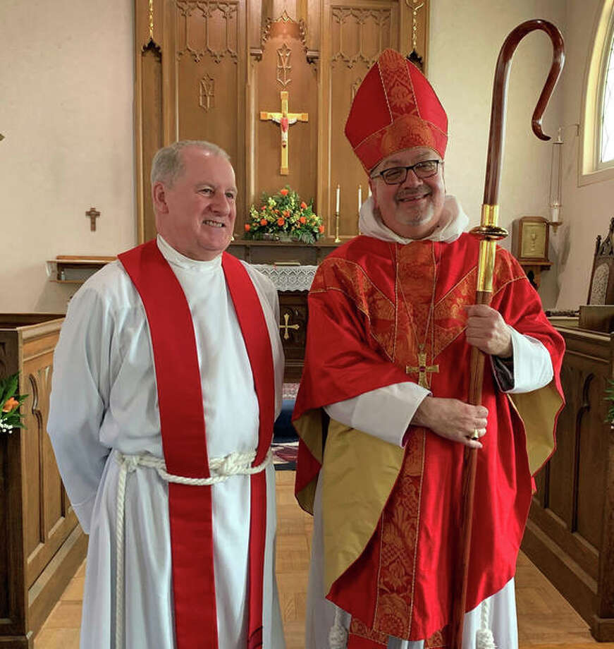 Fr. Joel Morsch, left, and Bishop Daniel Martins of the Springfield Archdiocese, right. Photo: For The Intelligencer