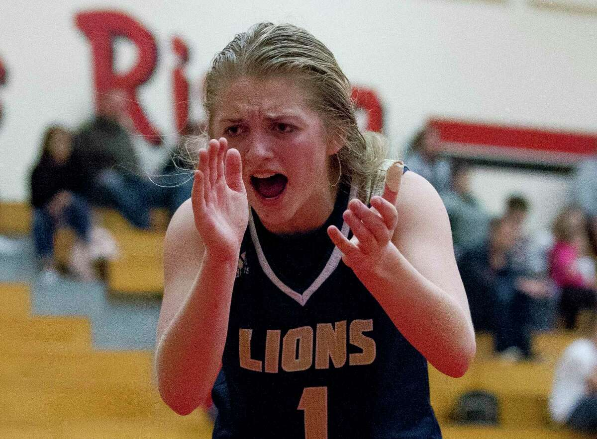In this file photo, Lake Creek guard Makenzie Logeman (1) reacts after guard Taliyah McShan (15) draws a foul late in the fourth quarter of a District 20-5A high school basketball game at Caney Creek High School, Tuesday, Nov. 27, 2018, in Grangerland.