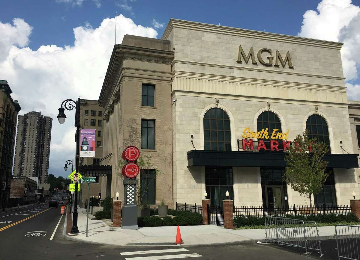 An exterior view of MGM Springfield, the $960 million casino complex that opens Friday.