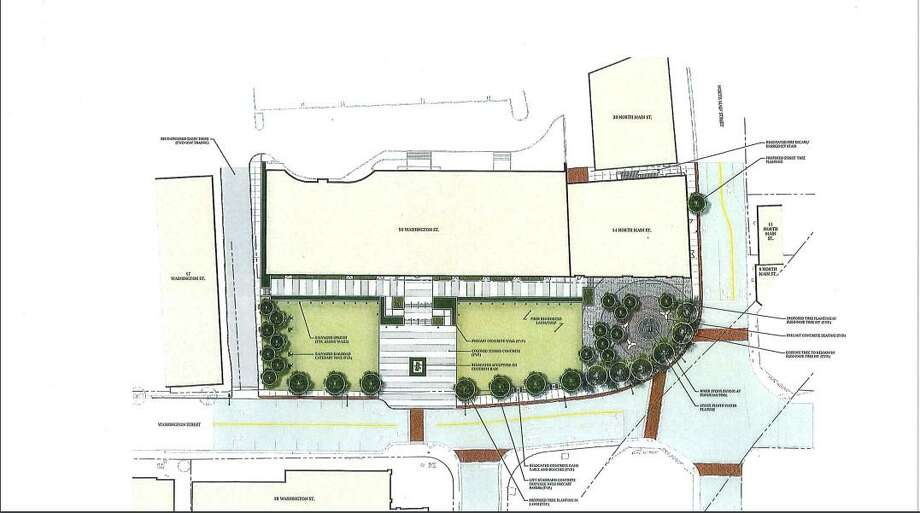 A look at the plans for the public plaza park at 50 Washington Street Photo: Norwalk Redevelopment Agency / Norwalk Hour Contributed