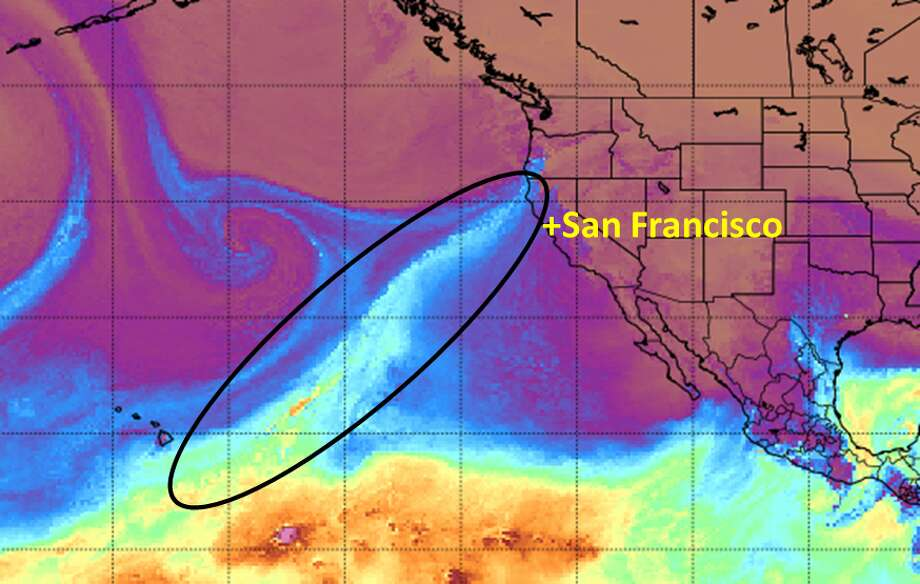 The National Weather Service Bay Area shared an image on Twitter of an atmospheric river slamming into California on Feb. 25, 2019. The NEWS circled the stream's moisture plume stretching to Hawaii to help show how it's stretched across the ocean and picking up moisture. Photo: NWS