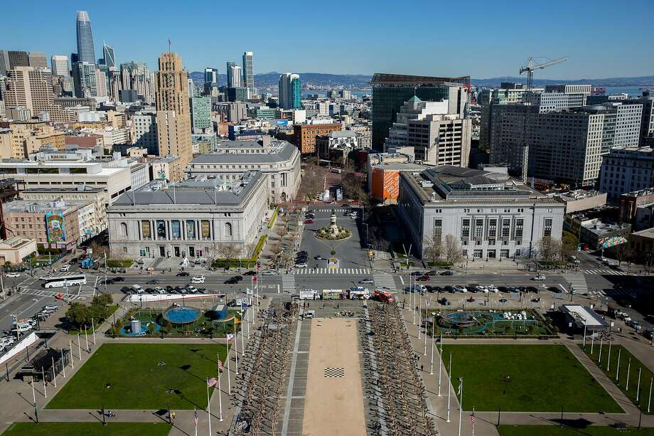 Civic Center Plaza seen from the top of City Hall on Friday, Feb. 22, 2019, in San Francisco, Calif. Photo: Santiago Mejia / The Chronicle