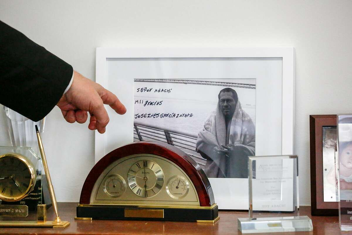 Matt Gonzalez, acting public defender, points at a gift from Jos� Inez Garc�a Z�rate displayed in Jeff Adachi's office at the San Francisco Public Defender's Office on Monday, February 25, 2019 in San Francisco, Calif.