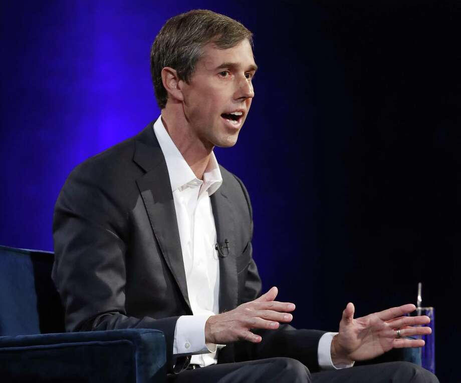 "FILE - In this Tuesday, Feb. 5, 2019 file photo, former Democratic Texas congressman Beto O'Rourke gestures during an interview with Oprah Winfrey live on a Times Square stage at ""SuperSoul Conversations,"" in New York. O'Rourke said Friday, Feb. 15, 2019, during a visit to Wisconsin that before deciding whether he will join the increasingly crowded field of Democrats running for president in 2020, he wants to meet with voters in the ""most honest, raw, real way possible."" (AP Photo/Kathy Willens, File) Photo: Kathy Willens, STF / Associated Press / Copyright 2019 The Associated Press. All rights reserved."