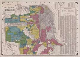 """Home Owners' Loan Corporation 1935 map, commissioned by the Federal Home Loan Board, that designated and ranked different neighborhoods according to suitability for mortgage lending. Its designation are largely based on racial makeup. The designations color codes are """"best"""" (green), """"still desirable"""" (blue, """"definitely declining"""" (yellow), and """"hazardous"""" (red.)"""