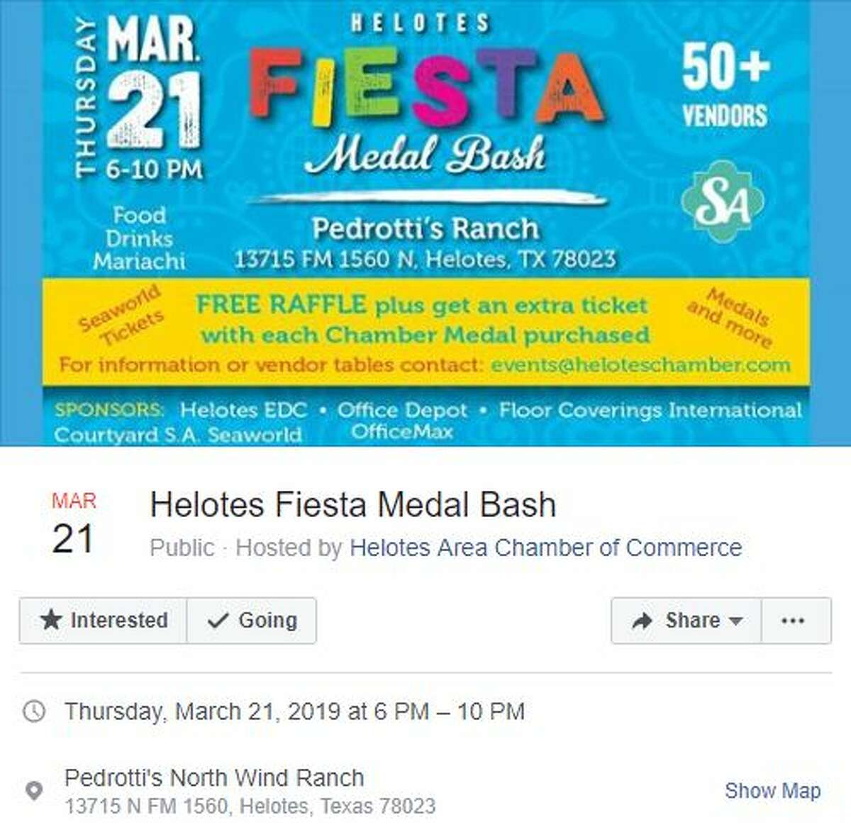 Helotes Fiesta Medal Bash Thursday, March 21, 2019, 6-10 p.m. Pedrotti's North Wind Ranch, 13715 N. FM 1560, Helotes, TX, 78023