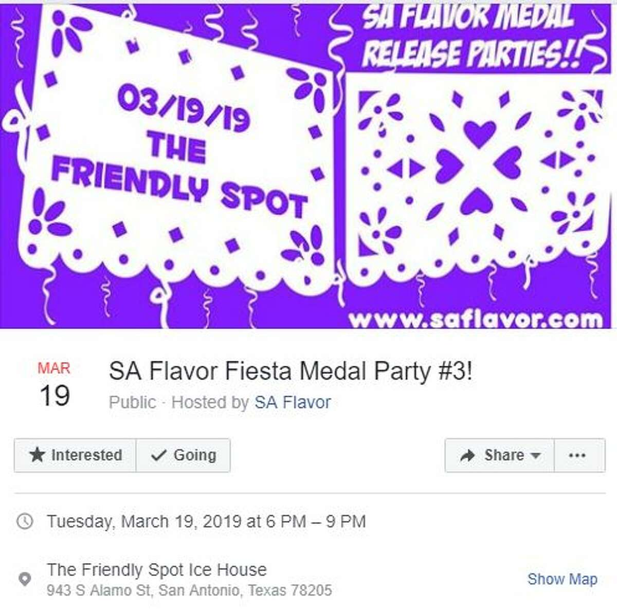 SA Flavor Fiesta Medal Party #3! Tuesday, March 19, 2019, 6-9 p.m. Friendly Spot Ice House, 943 S. Alamo St., San Antonio, TX, 78205