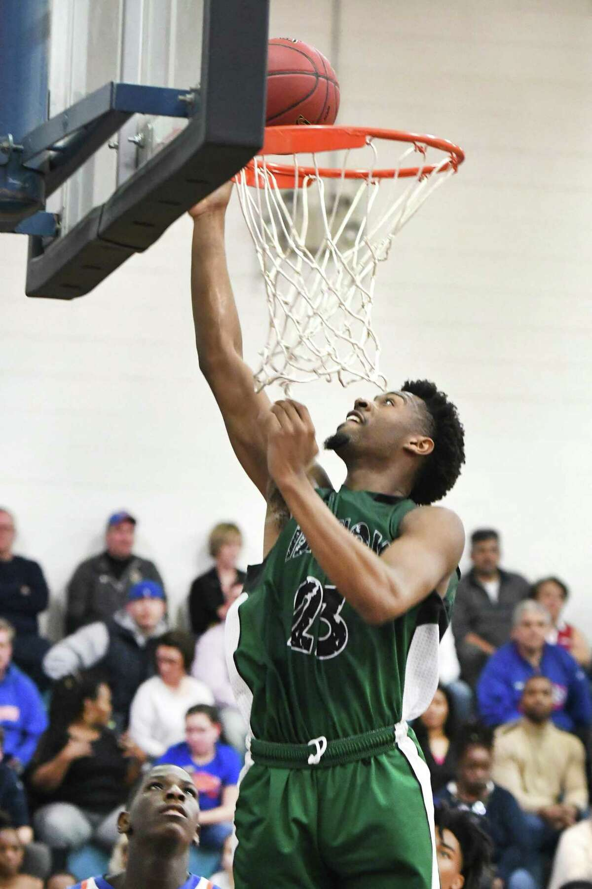 Bassick's Jordan Gallimore makes a basket during a game against Danbury earlier this season.