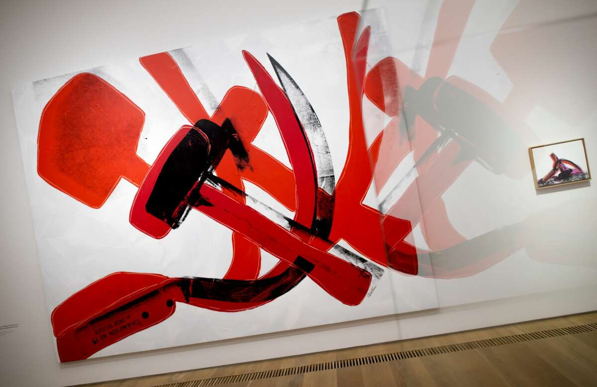 The image 'Hammer and Sickle' by Andy Warhol is on display at the Brandhorst Museum in Munich, Germany, 22 June 2015.