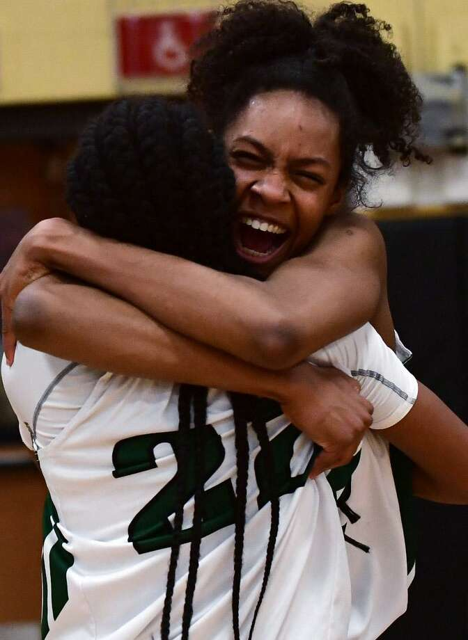 The Norwalk High School Bears won the FCIAC girls basketball championship game against Trinity Catholic High School Crusaders Feb. 21 at Trumbull High School. Photo: Erik Trautmann / Hearst Connecticut Media / Norwalk Hour